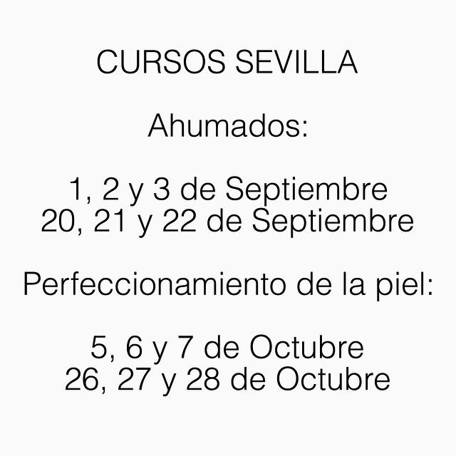 Buenos días!! Mañana a las 21h abriré la reserva para los cursos de Sevilla en las siguientes fechas! Al final os hice caso y lo dejé para Septiembre y Octubre, para que no se os derrita el maquillaje al salir! ? Espero conoceros pronto!!