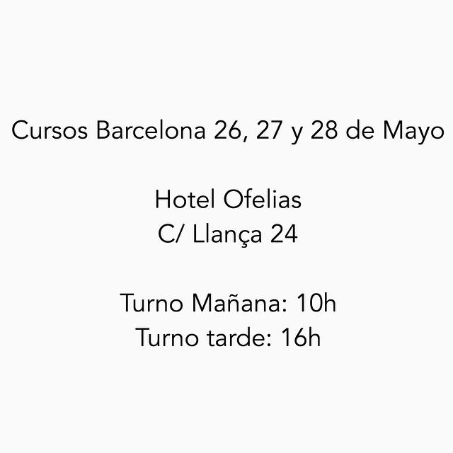 Para quienes no hayan podido descargar el PDF con la información de los cursos, aquí tenéis la dirección y horarios para los cursos de Barcelona la semana que viene. Nos vemos pronto! :)